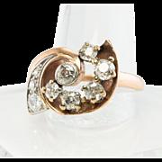 Vintage 14K Rose Gold Old European cut 1.05ct Diamonds Diamond Retro Ring