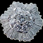 Estate 18K White Gold 3.00cts Diamond Ballerina Diamonds Ring