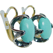 Vintage USSR Soviet Russia 18K Yellow White Gold Turquoise Russian Earrings