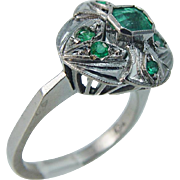 Vintage 18K 750 White Gold Colombian Emeralds Emerald Ring