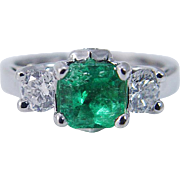 Vintage 14K White 18K Yellow Gold .77ct Colombian Emerald .56ct Diamonds Band Ring