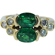 Vintage 18K Yellow Gold Emeralds Emerald Diamond Diamonds Band Ring