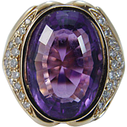 Vintage 14K Yellow Gold Amethyst Diamonds Cocktail Ring with ball guards