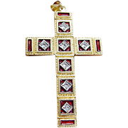 Vintage 18K Yellow Gold Red Enamel .28ct single cut Diamonds Large Cross Pendant