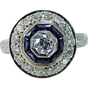 Vintage 14K White Gold 1.15ct Diamonds Old Euro Center Sapphire Ring with Guards