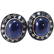 Vintage 18K Yellow Gold Sterling Silver Sapphire Single cut Diamonds Earrings