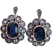 Vintage 18K Yellow Gold Sterling Silver Sapphire Miner cut  Diamonds Earrings