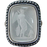 Vintage 14K Yellow Gold SS MOP Crystal Cameo MMA Ring Metropolitan Museum of Art