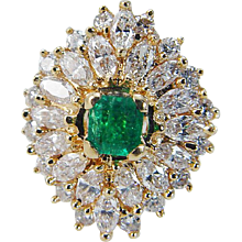 Estate 18K Yellow Gold Colombian Emerald Diamonds Ballerina Cocktail Ring