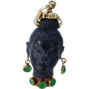 Handcrafted Vintage 1950's 18K Yellow Gold Chalcedony Blackamoor Head Pendant