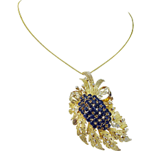Vintage 14K Yellow Gold Sapphires Diamonds Convertible Pendant Brooch Pin
