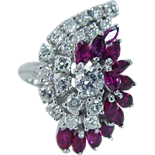 Vintage 14K White Gold 1.54cts Rubies 1.35cts Diamonds Large Cocktail Ring