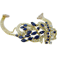 18K Yellow Gold 5.20 cts Sapphires 1.00 cts Diamonds Bracelet Estate Jewelry