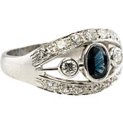Estate 18K White Gold Sapphire VVS2 G Diamonds Diamond Band Ring