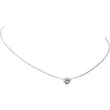 "14K White Gold .47ct Solitaire VS2 H Diamond Chain Necklace 18"" Long"
