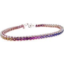 18K Rose Pink Gold Multi color Sapphires Rainbow Tennis Bracelet Estate Jewelry