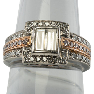 Designer Estate Jewelry Simon G Platinum Rose Gold .75ct Diamond Ring