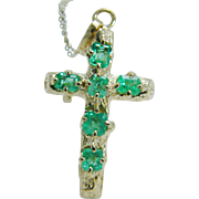 Estate 18K Yellow Gold Colombian cleanest Emerald Cross Pendant 14K Chain 8.1 gr