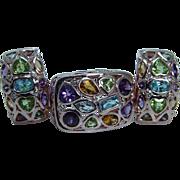 14K Rose Gold Multigem Earrings Ring Set Peridot Amethyst Diamonds Aqua Citrine