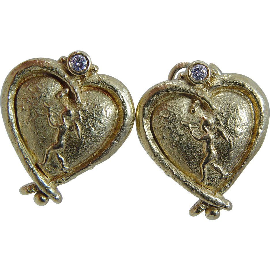 Antique jewelry nj : Vintage k yellow gold intaglio cameo cherub angel
