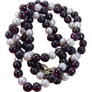 """14K Yellow Gold Clasp Mikimoto Pearls Garnet beaded Necklace 22.5"""" Long"""