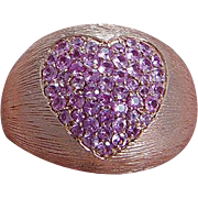 Estate Unusual 14K Rose Gold Pink Sapphires Heart Large Cocktail Ring Sapphire