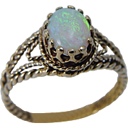 Vintage 14K Yellow Gold Opal Ring Hallmarked UJ