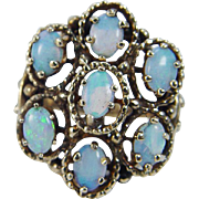 Vintage 14K Yellow Gold Opal Opals Cocktail Cluster Ring
