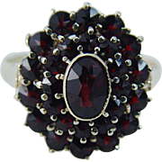 Vintage 18K Yellow Gold Garnet Garnets Ring Jewelry Gift Size 9.5 sizable