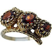 Vintage 14K Yellow Gold Garnet Three Oval Garnets Band Ring