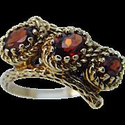Vintage 14K Yellow Gold Garnet Three Oval Garnets Band Ring