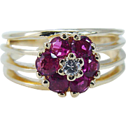 Estate 14K Yellow Gold High quality Ruby Rubies Diamond Ring Jewelry Gift