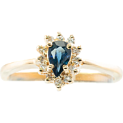 Estate 14K Yellow Gold Sapphire Diamonds Ring Jewelry Gifts