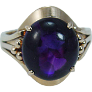 Vintage 14K Yellow Gold Amethyst Cabochon Ring Three dots Old Jewelry