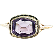 Vintage 1920s 14K White and Yellow Gold Amethyst Filigree Ring