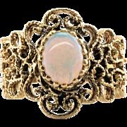 Vintage Retro 14K Yellow Gold Opal Ornate Openwork Ring