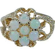 Vintage 14K Yellow Gold Seven Opals Large Cocktail Ring