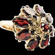 Estate 14K Yellow Gold 5.10 cts Garnet Garnets Ring Hallmarked UJ