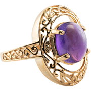 Estate 14K Yellow Gold Amethyst Filigree Ring 4.1 gr Affordable Gift