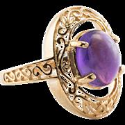 Estate 14K Yellow Gold Amethyst Filigree Ring 4.1 gr Affordable Gift