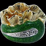 Vintage Retro 18K Yellow Gold Green Enamel Diamonds Ring made in Italy
