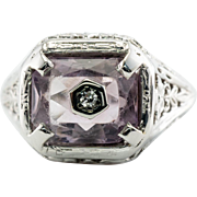 Vintage 14K White Gold Amethyst Diamond Filigree Ring Old Jewelry