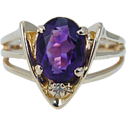 Estate 14K Yellow Gold Amethyst Diamond Ring Jewelry