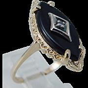 Vintage 14K Yellow Gold Onyx Diamond Designer Hubertus Von Skal Ring