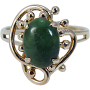 Vintage 14K Yellow Gold Jade Solitaire Ring Jewelry