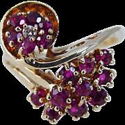 Vintage 14K Yellow Gold Diamond Ruby Rubies Ring Jewellry Gift