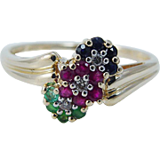 Estate 14K Yellow Gold Sapphires Emeralds Rubies Diamonds Flower Ring
