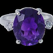 Vintage 14K White Gold Hallmarked B&F 4.50cts Amethyst Diamond Ring