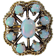 Vintage Retro 14K Yellow Gold Opals Opal Cocktail Ring Hallmarked UJ