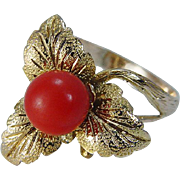 Vintage 14K Yellow Gold 7mm Coral Leaf Leaves Ring Jewelry